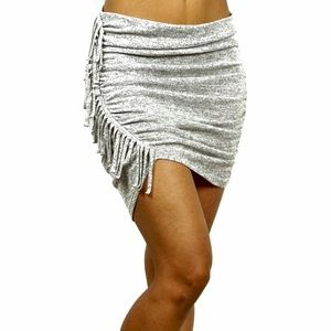 Express Heather Gray Knit Ruched Fringe Mini Skirt
